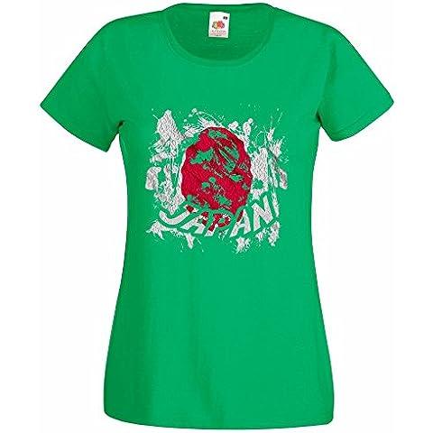 Bandiere Firmata Collezione 2, Fruit of the Loom Valueweight Lady-Fit Tee Verde Prato Donna Maglietta T-Shirt con Design Colorato. Taglia XS 36, S 38, M 40, L 42, XL 44, 2XL 46 - Vintage Firmata Giappone