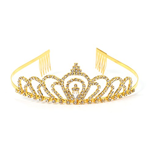 RIVERTREE Gold Costume princess crown With Comb Pin For Girls & Women Crystal Bridal wedding Tiara (Halloween-kostüme Teens Billige)