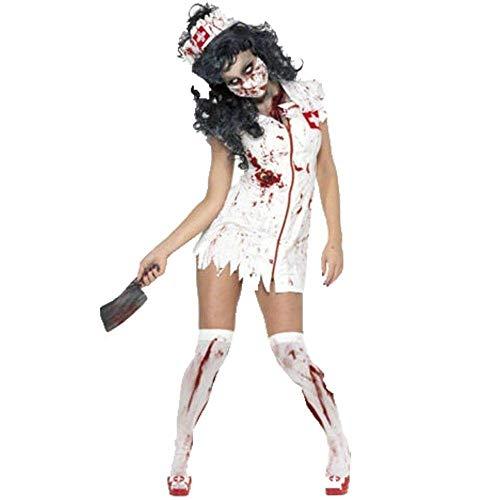 Fashion-Cos1 Halloween Weiß Blutflecken Blut Zombie Cosplay Bühnenkostüme Geisterkrankenschwestern Kleid Party Kostüm (Color : White, Size : M) (Weiß Blut Halloween Kleid)