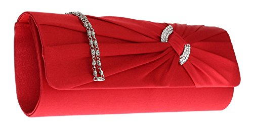 Girly HandBags Satin Bleu Roi Pochette Plissée Rose Fuchsia Diamante Mariage Ivoire Teal Rouge Rouge