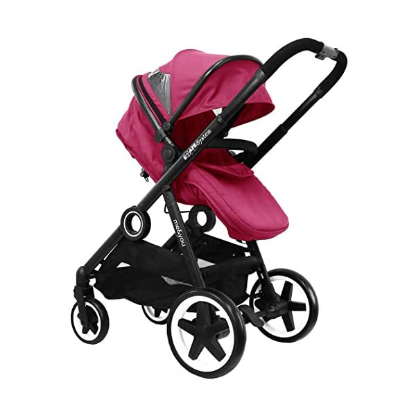 iSafe Tandem Pram me&You - 2 Tone Red (Sienna) iSafe Sleek & Eye Catching Matte Black Chassis, Weighing Only 16Kgs Easy One Second Fold, For Those Parents On The Go Soft Grip Extendable 3 Height Handle, To Suit Parents Of Any Height 3