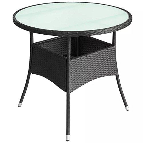 Festnight Table de jardin Résine tressée Noir
