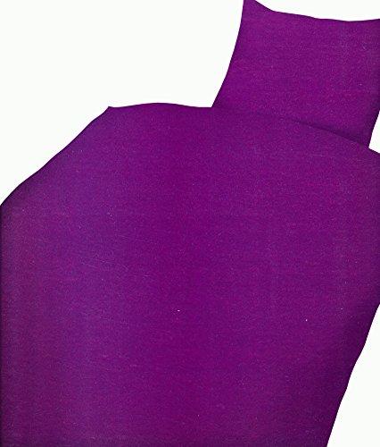 Leonado Vicenti 2 TLG Microfaser Uni Bettwäsche 135x200 in vielen Farben, Maße:2 TLG. 135x200 cm + 80x80 cm, Colour:Lila