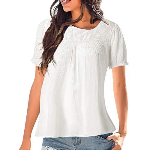 BHYDRY Frauen Casual Langarm Spitze Patchwork Tops Bluse (EU-42/CN-L, Weiß ()