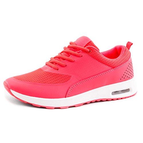 Trendige Unisex Damen Laufschuhe Schnür Sneaker Sport Fitness Turnschuhe Neon Coral
