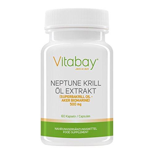 Vitabay Neptune Krill Öl 500 mg - Reich an Omega-3 Fettsäuren - 60 Softgels -