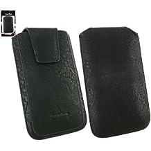 Emartbuy® Clásica Serie Negro Cuero PU de Lujo Funda Carcasa Case Tipo Bolsa ( Talla 4XL ) con Cierre Magnético y Mecanismo de Pestaña para Estirar adecuada para Huawei Ascend G7