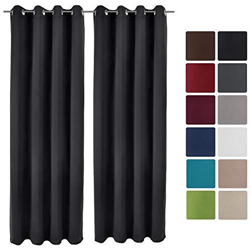 Beautissu Set de 2 Cortinas Blackout Amelie BO de Ojales 140x245 cm Opaca oscurecente Banda Universal Negro