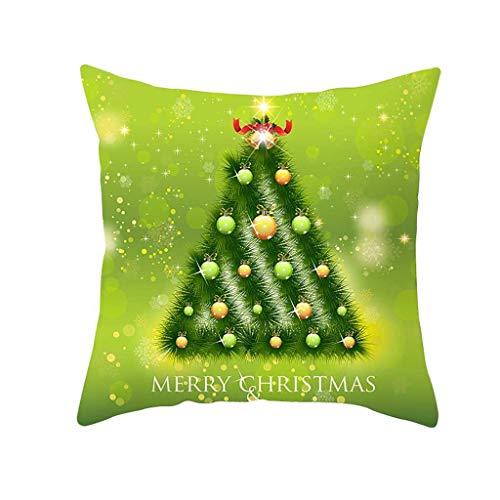 OPALLEY 1er-Set Dekorativ Kissenbezug 45 x 45 cm, Baumwolle Leinen Kissenbezüge Dekokissen Kissenhülle Set Kissen Fall für Sofa Auto Schlafzimmer Zuhause Dekor (Weihnachten - Kurzer Plüsch)