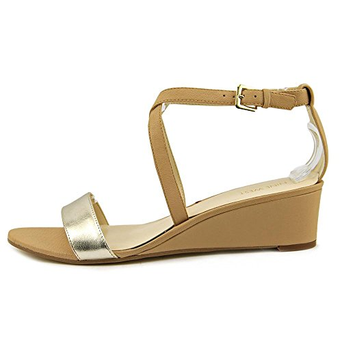 Nove in pelle occidentale Lacedress Sandali con zeppa Natural/Gold Leather