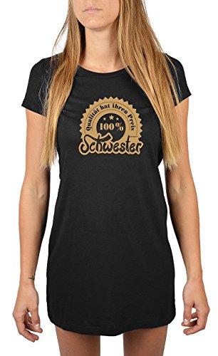 Nachthemd Damen Schlafshirt Frauen langes Shirt mit lustigem Motiv Farbe: schwarz Schwarz