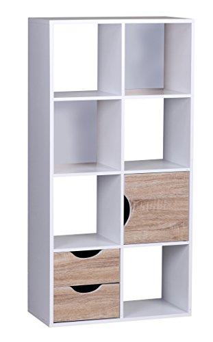 Wohnling Bücherregal 60 x 120 x 29 cm Sonoma Eiche mit Schubladen und Tür weiß (Bücherregal Schublade)