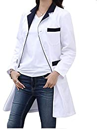 ESENHUANG Traje De Mujer De Manga Larga Bata De Laboratorio Farmacia Trajes De Médico Uniforme Enfermera