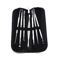 Samyo 7 Kits Set Facial Acne Treatment Comedone Pimple Extractors Instruments, Blackhead Blemish Remover Tools With A Free Travel Case