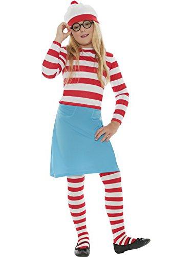 """Mädchenkostüm für Kinder """"Where is Wally"""" Wenda-Kostüm, plus Strümpfe und Brille, alle Größen (Waldo Kostüm Zubehör)"""