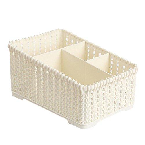 Wicemoon 4 Grid Kunststoff Storage Box Desktop Klassifikation Organizer Storage Aufbewahrungsbox für Küche,Büro,Plastik,Beige,19 x 14 x 10 cm - Küche Storage-lösungen