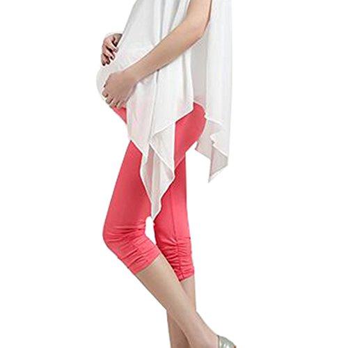 Highdas incinte estate di stirata dei pantaloni Le ghette modali Cotton maternità sette pantaloni Mirro rosa