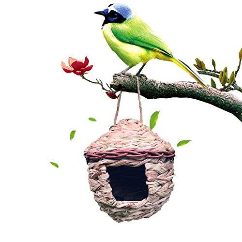 Sommer's Laden Handgewebtes Hängend Vogelhaus Vogelhäuschen, 15×15×16CM Unigiftiges Vogelnest Zuchtbox Vogel Zufuhr Rast Nest, Geeignet Für Gartenarbeit Familien Innen Und Außendekoration
