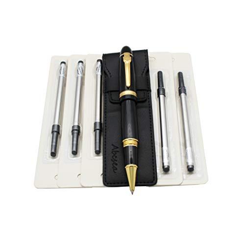 Abcsea 159 Tintenroller-Ersatzminen für Tintenroller, Spiral-Kugelschreiber mit Deckel, mittlere Spitze - schwarzer Stift und schwarze Spiralmine 0,5 mm -