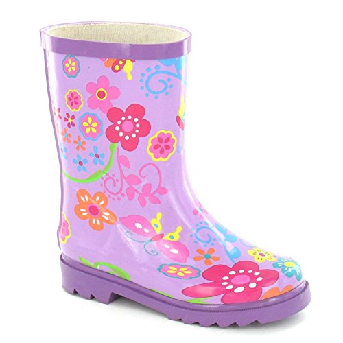 Spot on Mädchen Gummistiefel mit Blumen Muster (32EU/13UK Child) (Violett) -