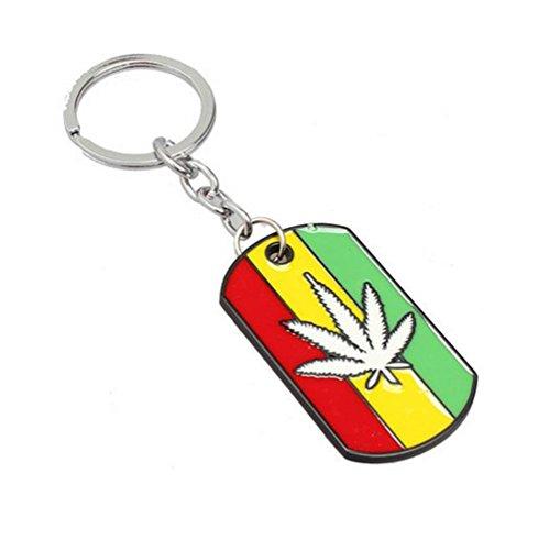 Gudeke Marihuana Cannabis Weed Unkraut Topf Blatt Reggae Rot Gelb Grün Gestreift Emaille Legierung Schlüsselbund Schlüsselanhänger (Weiß) (Schlüsselanhänger Unkraut)