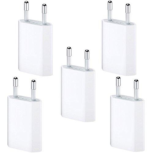 Original Lanboo® 5x Ladegerät Netzteil Ladestecker (1 Ampere - 1000 mAh - 100-240V) Wandstecker Lade-Adapter Slim USB Charger für das Apple 7, 7 Plus, 6s, 6s Plus, 6, 5, SE, 5s, 5c, SE, iPod nano 7, 5G in Weiß Nano 5g Usb