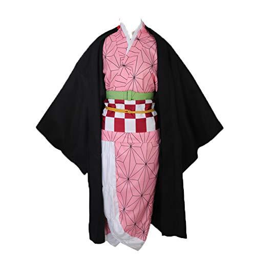 Fanstyle Kamado Nezuko Cosplay Kostüm Set Dämonentöter Kimetsu no Yaiba Halloween Kostüme Mantel Kimono (Slayer Kostüm)