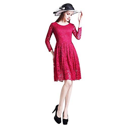 Clasichic Damen Spitzenkleid Cocktailkleid Partykleid Abendkleid mit 3/4 Arm Festliche Rockabilly Swing Kleider Knielang winerot