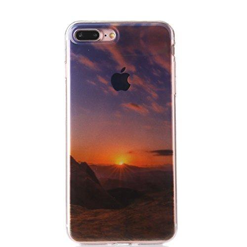 iPhone 7 Plus Silicone Case,iPhone 7 Plus Coque - Felfy Coque Souple Gel Soft TPU Silicone Case Premium Ultra-Light Ultra-Mince Skin de Protection Anti-Choc Bumper Housse Coque Etui pour Apple iPhone  Lever du Soleil
