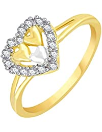 Vidhi Jewels Gold Plated Heart Shaped Royal Look Alloy & Brass Finger Ring For Women And Girls [VFR434G]