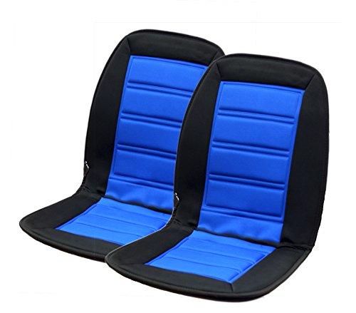 Beheizbare Sitzauflage I 12 V für Anschluss an Zigarettenanzünder I Sitzheizung I Schwarz-Blau I (2 Stück)