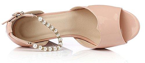 Aisun Damen Elegant Lackleder Strass Perlen Toe Open Plateau Blockabsatz Sandalen Pink