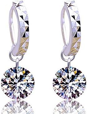 Ohrringe Damen Mädchen 925er Sterling Silber mit Bling Diamant Hypoallergen Ohrhänger