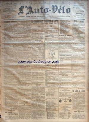 AUTO VELO (L') [No 403] du 21/11/1901 - ACCUMULATEURS ET ACCUMOBILES PAR MAX DE NANSOUTY - VERS L'AMERIQUE - DEPART DE MICHAEL MAC PARLAND ET TOM ECK PAR GEO LEFEVRE - A GAILLON - OSMONT BAT LE RECORD DE RIGAL PAR GEORGES PRADE - LE CHAMPIONNAT DU MONDE DE LUTTE - QUINZIEME SOIREE - RESULTATS DES LUTTES - POIDS LOURDS - POIDS LEGERS - LE PROGRAMME DE CE SOIR - LES QUALIFIES - UN CONCOURS DE PRONOSTICS - POUR CHALZET - LA ROULOTTE D'AIMABLE PAR L. MANAUD - AUTOMOBIL