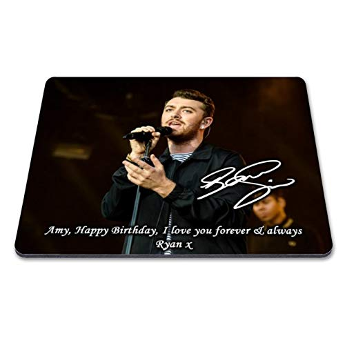 Sam Smith 1 Personalised Gift Print Mouse Mat Autograph Computer Rest Mouse Mat Compatible with Laser and Optical Mice (with Personalised Message)