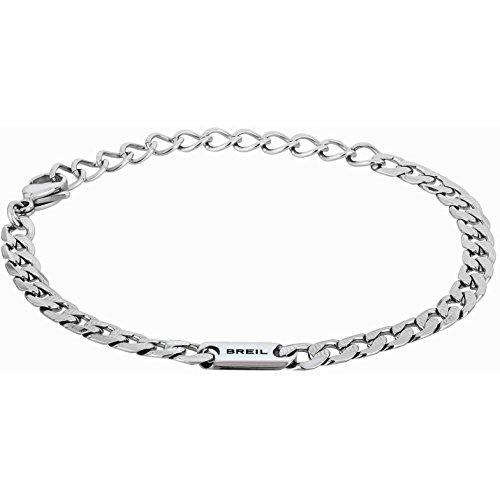 Breil - bracciale uomo groovy tj1979 - catenina maschile classica per polso in acciaio lucido - lunghezza 22 cm - acciaio/argento