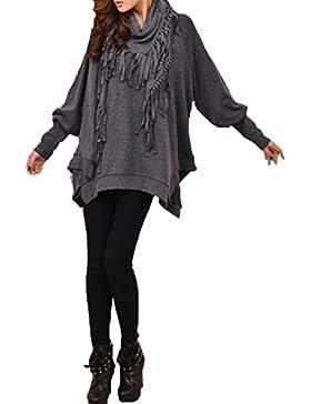 ELLAZHU Women Scarf Batwing Long Sleeves Blouse Sweatshirt DY107