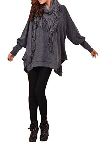 ELLAZHU Women Scarf Batwing Long Sleeves Blouse Sweatshirt DY107 Grey