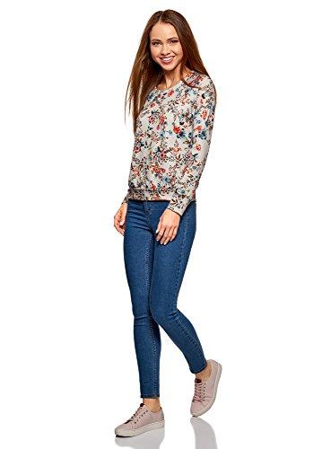 oodji Ultra Damen Bedrucktes Sweatshirt mit Rundem Ausschnitt Beige (3355F)
