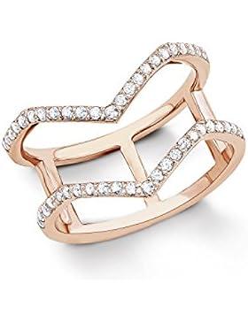 s.Oliver Damen-Ring Geometrie 925 Sterling Silber rosévergoldet Zirkonia weiß