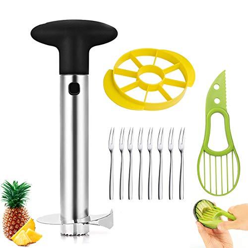 Jestool Ananas Affettatrice, Professionale Utensili per Ananas 3 in 1 in Acciaio Inox per la Casa e la Cucina con 1 Affettatrice Staccabile, 1 Avocado Slicer e 8 Forchette di Frutta