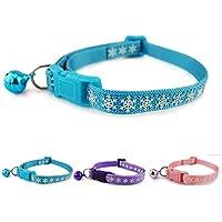 Lupeta Schneeflocke Reflektierendes Katzenhalsband Sicherheitsverschluss mit Glöckchen Rosa Nylon Katzen Halsband Halsbänder Reflektierend für Katzen Kleine Hunde 20-32cm (Blau)