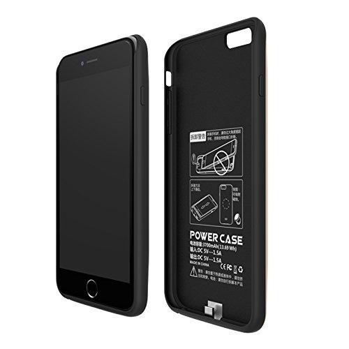 Batterie Coque iPhone 6 Plus Cover, Forhouse Battery Externe Rechargeable Case Coque 3800 mAh Li-polymer Power Bank Portable Chargeur Batterie Pack Etui Housse Antichoc Smart Chargeur Protecteur Backu Noir
