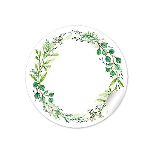 24 STICKER:Mit FREITEXTFELD zum selbst beschreiben GRÜN mit Zweigen • Für Gastgeschenke, Hochzeit, Hochzeitsmarmelade, Tischdeko, Selbstgemachtes u.v.m. • 4cm, rund, matt
