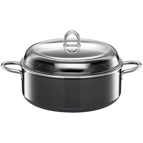 Silit Stew Pot Ø 28 cm Approx. 6L Piedra Pouring Rim Made in Germany Glass Lid Silargan® Functional Ceramic Suitable for Induction Hobs Dishwasher-Safe