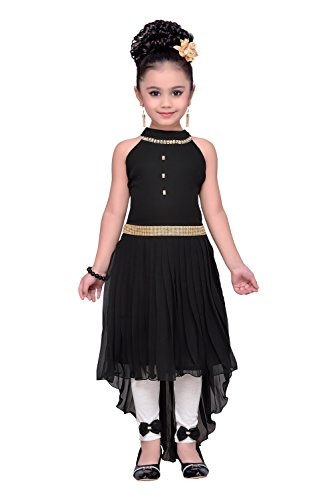 ADIVA Girl's Party Wear High Low Dress for Kids (G_1121_Black_38)