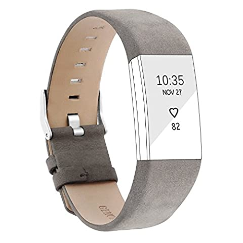 Replacement Leather Wristband Bracelet Strap Band Straps for Fitbit Charge HR 2 Classic Buckle (Matte Grey)