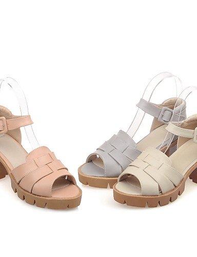 UWSZZ IL Sandali eleganti comfort Scarpe Donna-Sandali-Casual-Spuntate / Aperta-Quadrato-Finta pelle-Rosso / Grigio / Tessuto almond Red