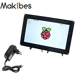 Makibes 10.1 Pulgadas 1024 x 600 Raspberry Pi Pantalla Táctil Capacitiva HDMI LCD (H) para Raspberry Pi 2 3 modelo B/ B +/PC de sistemas/BeagleBone Negro Raspbian Ubuntu Windows de 10 IoT con Marco Bicolor.