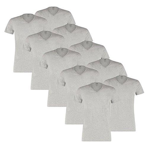 PUMA Herren Basic Shirt V-Neck - 5x2 Shirts (10er Pack) middle grey melange (758)
